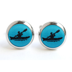 Ocean Blue and Black Kayak Cufflinks