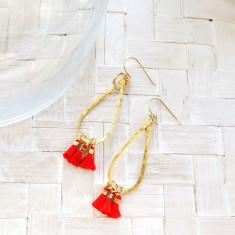 Hammered fine brass teardrop tassel earrings