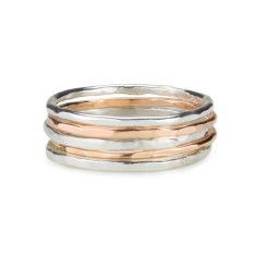 Set of 5 stackable rings in sterling silver and rose gold