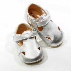 Pre-walker leather Sunday sandals in silver