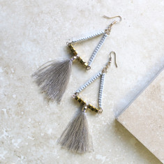 Tasseled Drop Earrings In Grey