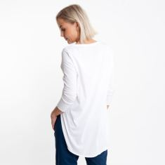 Three Quarter Sleeve Tailed Tee in White