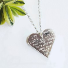 Personalised sterling silver memorable years heart necklace