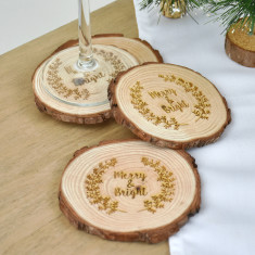 Merry And Bright Christmas Wooden Coasters