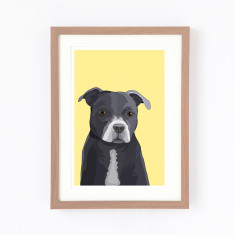 Staffy illustrated print