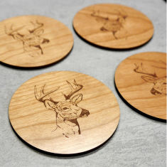 Wooden stag coasters (set of 4)