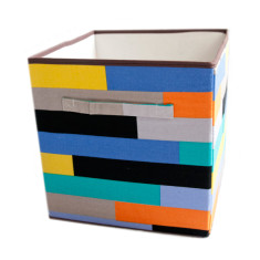 Staggered stripe storage boxes (set of 2)