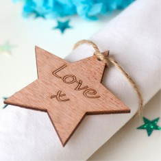 Personalised wooden star wedding favours