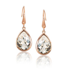 Crystal and Rose Gold Vermeil Tear Drop Earrings