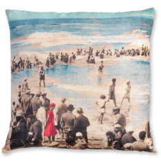 Lady in a Red Dress linen cushion cover