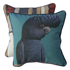 Steel blue cockatoo cushion cover