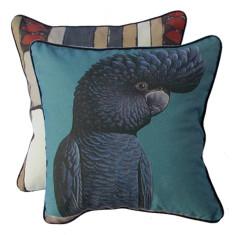 Steel blue cockatoo cushion cover