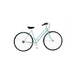 Ladies vintage bicycle in light blue