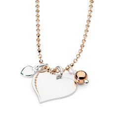 Sterling silver & rose gold fill heart charm necklace