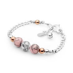 Sterling silver pink and white howlite bracelet