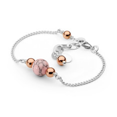 Sterling silver pink howlite fine bracelet
