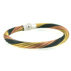 Sterling silver twister bracelet in gold, rose gold and black