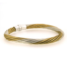 Sterling silver 'twister' bracelet in silver and gold