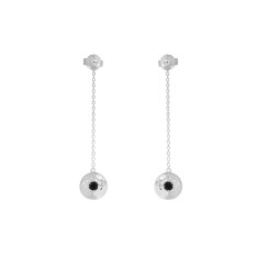 Grace Hanging Chain Disc Earrings in Sterling Silver