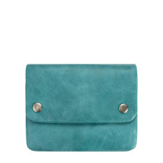 Norma leather wallet in aqua