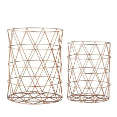 Copper plated storage baskets (set of 2)
