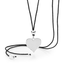 Sterling silver heart and silk cord necklace
