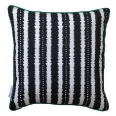 Black jagged stripes linen cushion