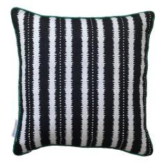 Black jagged stripes linen cushion