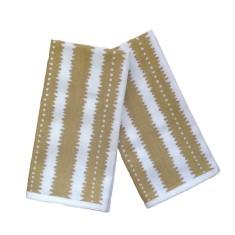 Gold jagged stripes linen napkins (set of 4)