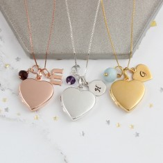 Personalised Heart Locket with Birthstones