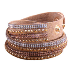 Studded double wrap bracelet in tan
