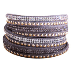 Studded double wrap bracelet in grey