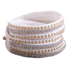 Studded double wrap bracelet in white