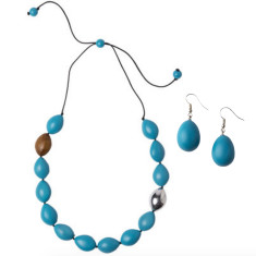 Atlantis pod necklace + drop earrings set aqua