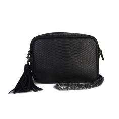 Black python leather cross body box bag with detachable metal chain