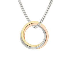 Engravable Zara Russian rings necklace in 9ct multi-gold