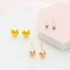 Lovely little bauble stud earrings in high shine rose gold, gold or silver