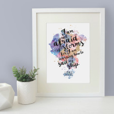 I'm not afraid of storms - inspirational little women quote watercolour print