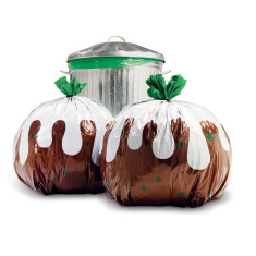 Suck UK bin bags xmas pudding