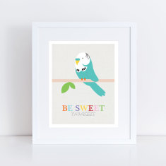 Be sweet parakeet budgie art print