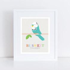 Be sweet parakeet budgie art print