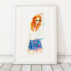 Limited edition large summer girl archival giclee print