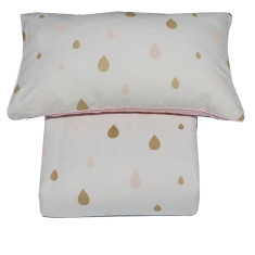 Reversible doona cover set in pink summer rain