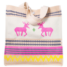 Nordic summer canvas tote in fluoro