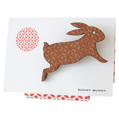 Sunny bunny engraved wooden rabbit brooch