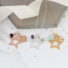 Personalised Open Star Necklace with Birthstones