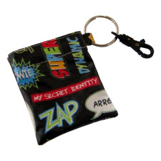 Superhero waterproof coin pouch key ring clip