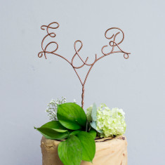 Personalised Initial Wire Copper Cake Topper