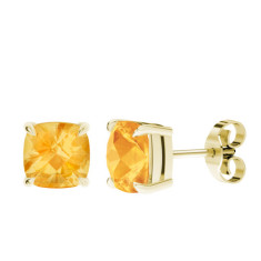 Citrine Cushion Checkerboard Yellow Gold Stud Earrings