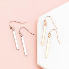 Sweetest dream bar drop earrings in rose gold or silver